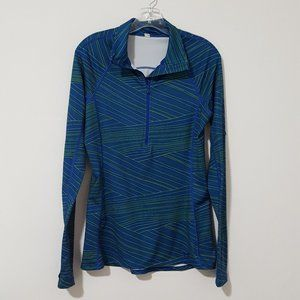 Under Armour Blue Striped Athletic 1/2 Zip Shirt M
